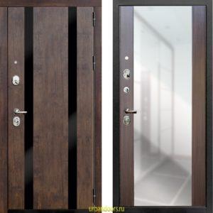 Дверь Зетта ПРЕМЬЕР 3 КБ1 в цвете тиковое дерево с зеркалом