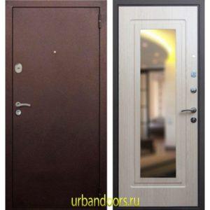 Дверь ReX 1A Зеркало Беленый Дуб