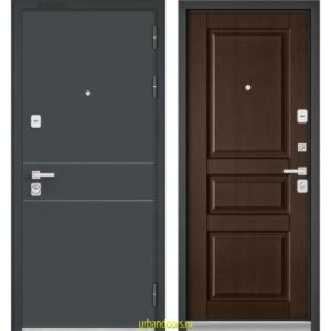 Дверь Бульдорс Premium 90 Черный шелк D-14 / Дуб коньяк 9РD-2