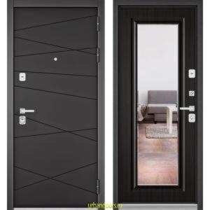 Дверь Бульдорс Premium 90 РР Графит софт / Ларче темный-зеркало 9S-140