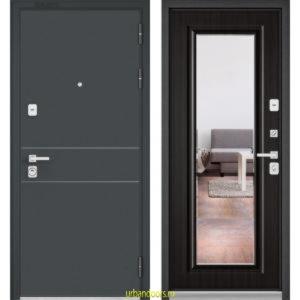 Дверь Бульдорс Premium 90 Черный шелк D-14 / Ларче темный-зеркало 9S-140