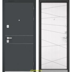 Дверь Бульдорс Premium 90 Черный шелк D-14 / Белый софт 9Р-130