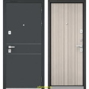 Дверь Бульдорс Premium 90 Черный шелк D-14 / Ларче бьянко 9Р-131