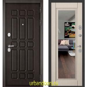 Дверь Бульдорс Standart 90 Дуб шоколад / Ларче бьянко зеркало 9S-140