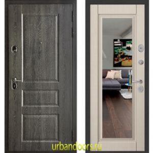 Дверь Бульдорс Standart 90 Дуб графит 9SD-2 / Ларче бьянко зеркало 9S-140