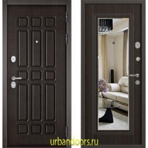Дверь Бульдорс Standart 90 Дуб шоколад / Ларче шоколад зеркало 9S-140