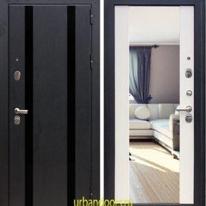 Дверь Зетта ПРЕМЬЕР3 3 КБ1 Кора в цвете чёрный F062 и белый венге с зеркалом