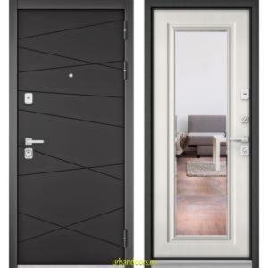 Дверь Бульдорс Premium 90 РР Графит софт / Шамбори светлый-зеркало 9S-140
