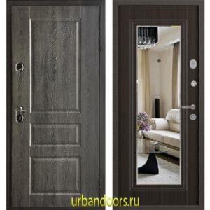 Дверь Бульдорс Standart 90 Дуб графит 9SD-2 / Ларче шоколад зеркало 9S-140