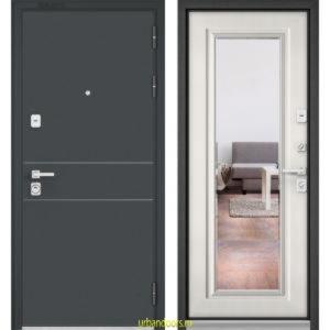 Дверь Бульдорс Premium 90 Черный шелк D-14 / Шамбори светлый-зеркало 9S-140