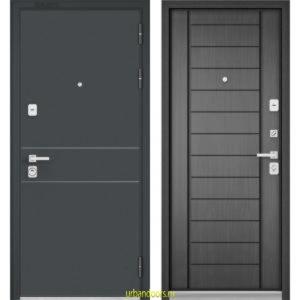 Дверь Бульдорс Premium 90 Черный шелк D-14 / Серый дуб 9Р-137